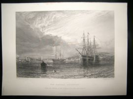 After Dawson 1871 Antique Print, The Hamoaze, Devonport, Ships, Art Journal